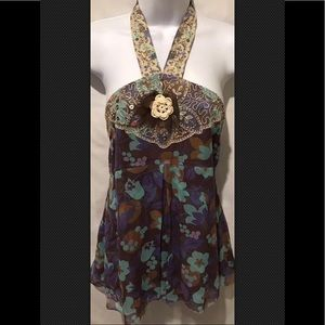 TIBI Silk Lace Beaded Sequin Halter Blouse Boho